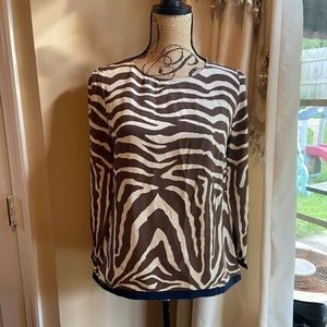NWT J.Crew 100% Silk Animal Print Blouse 10911